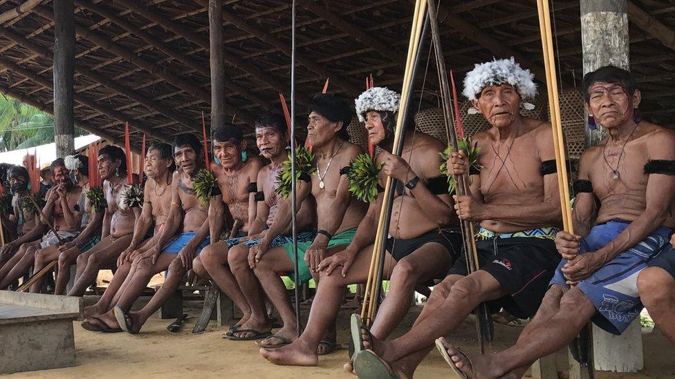 Comunidad yanomami en la frontera con Venezuela.