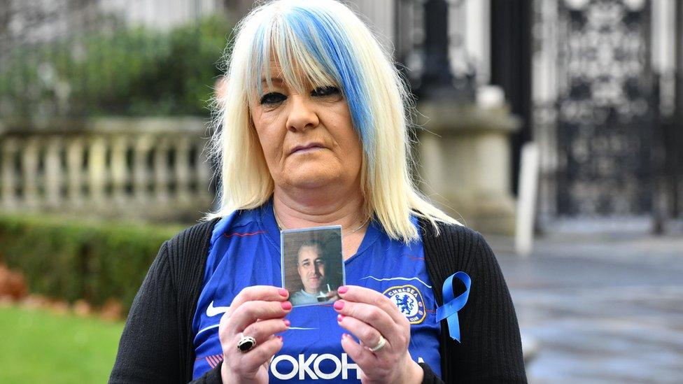 Lesley Horner speaking outside court in Belfast