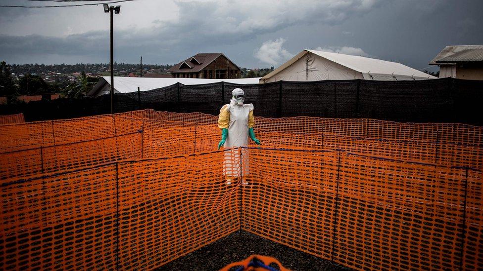A health worker in Bunia, Democratic Republic of the Congo November 7, 2018