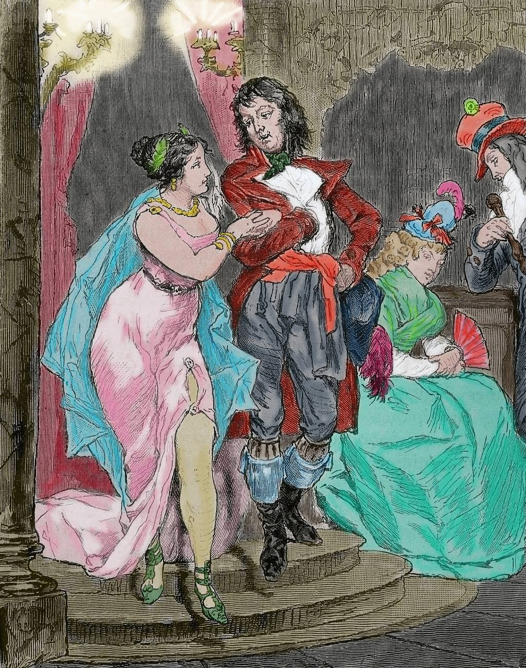 Moda en Francia durante la penúltima etapa de la Revolución Francesa. Directorio de disfraces de época. 1795-1799. Grabado del siglo XIX, coloreado.