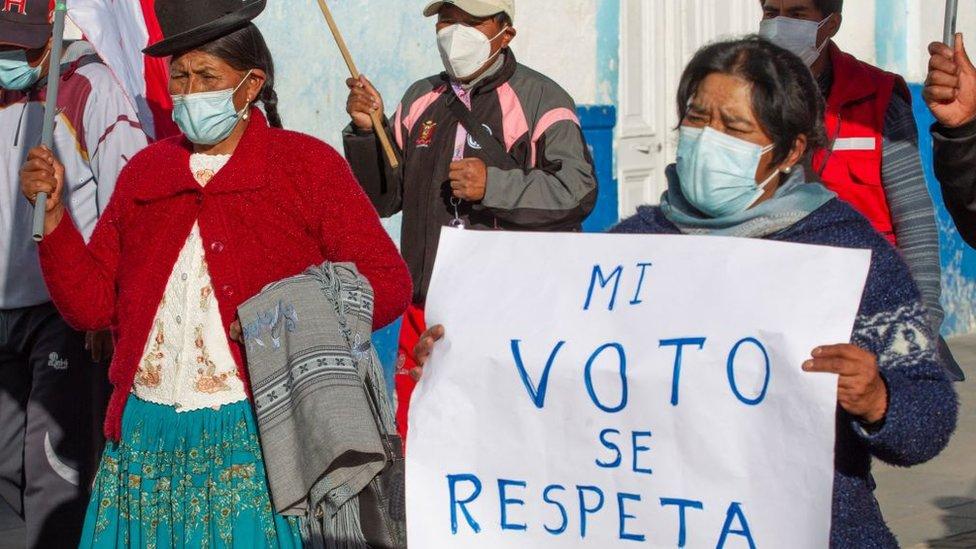 Manifestación de partidarios de Pedro Castillo.