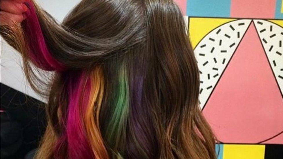 Another photo of hidden rainbow hair.