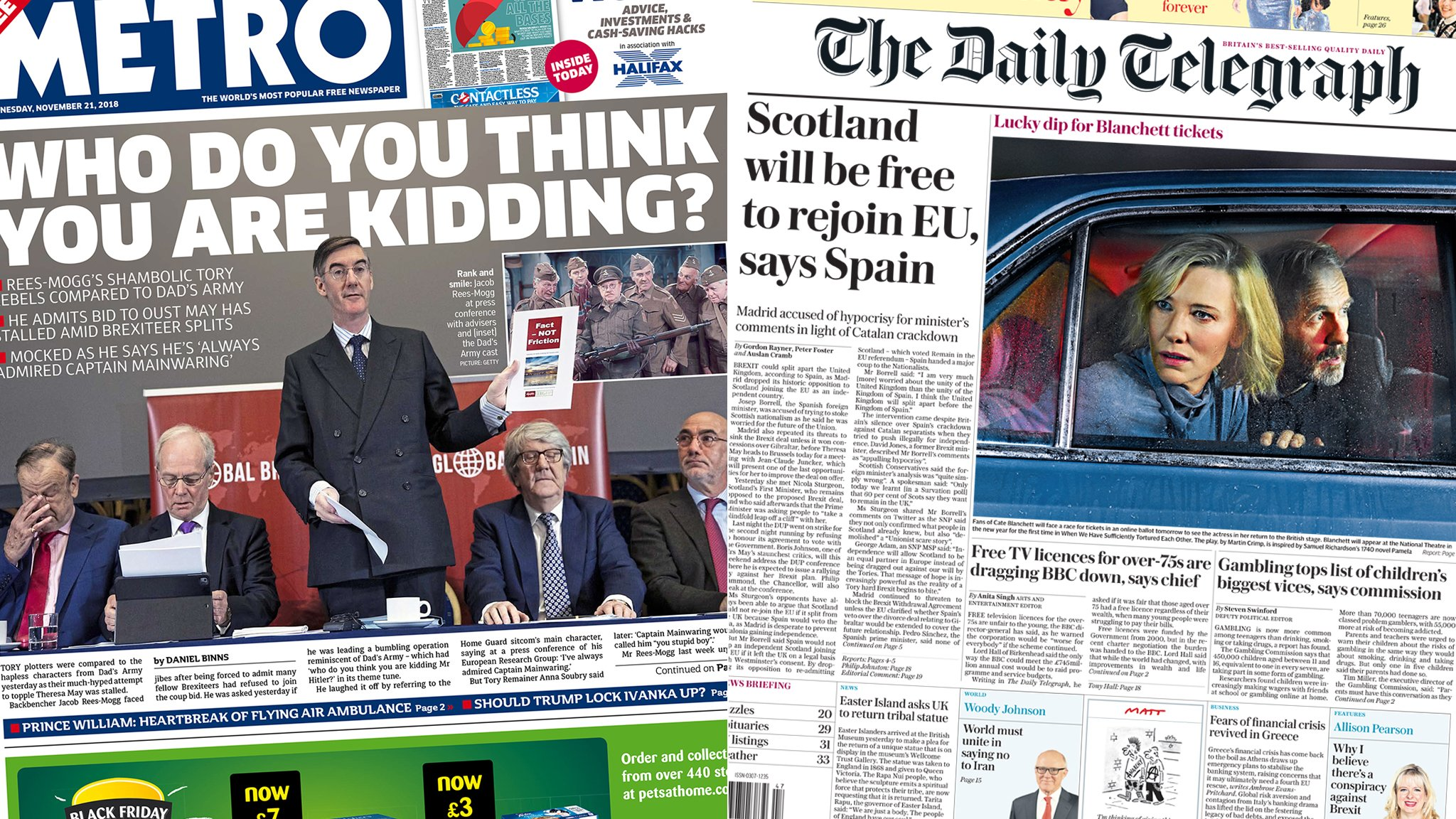 The Papers: Press sees 'Dad's Army' revolt stalling
