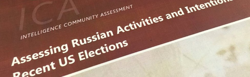 Cover of US intelligence report on alleged Russia's hacking to influence the US election