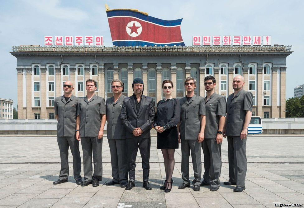 A handout photo taken and relesed on August 19, 2015 by Mute records shows Slovenian avant-garde music group Laibach in Pyongyang