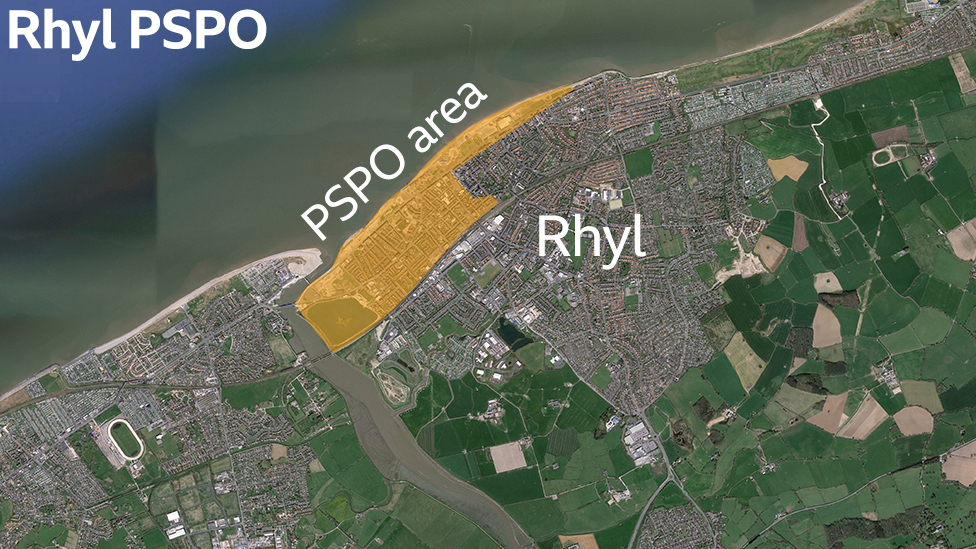 A map showing a a PSPO in Rhyl