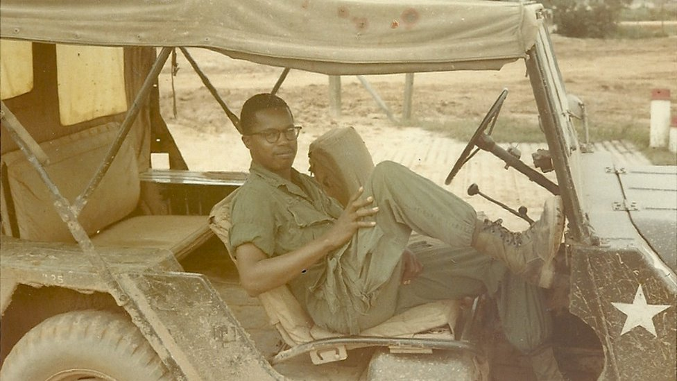 Paul Matthews as a lieutenant in jeep at Camp Red Devil, 5th Infantry Div. Quang Tri, Vietnam, 1968