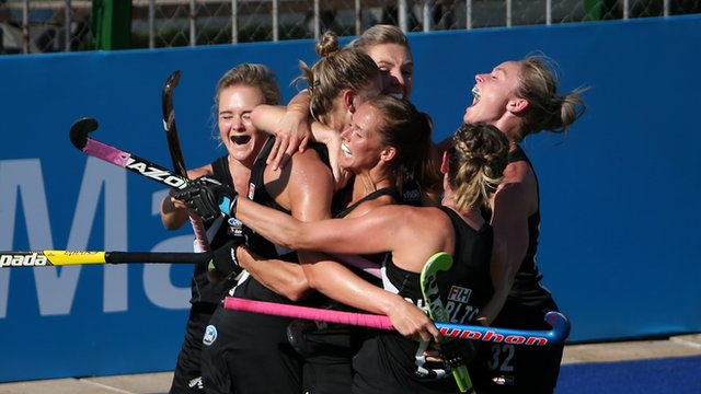 Olivia Merry of New Zealand celebrates scoring the winning goal with her team-mates