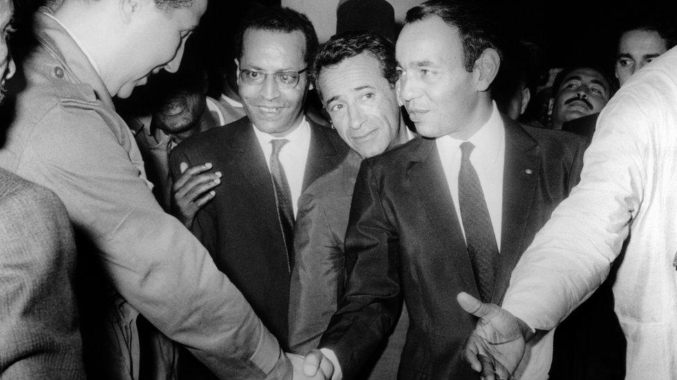 Ahmed Ben Bella y el rey Hassan II de Marruecos