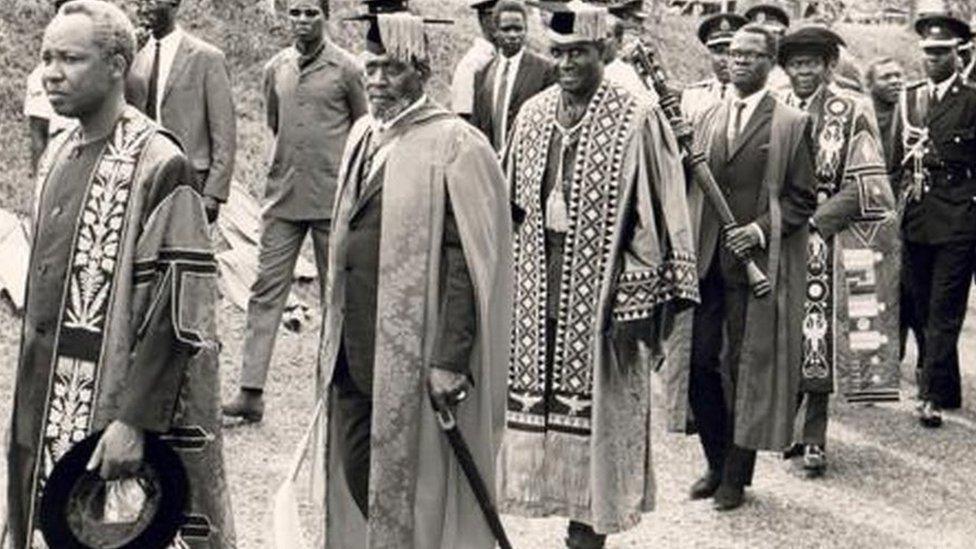 L-R: Tanzanian President Julius Nyerere, Kenyan President Jomo Kenyatta and Zambian President Kenneth Kaunda in procession followed by P Anyang' Nyong'o and Chancellor Dr Apollo Milton Obote at the inauguration of Makerere University in Kampala Uganda, 8 October 1970