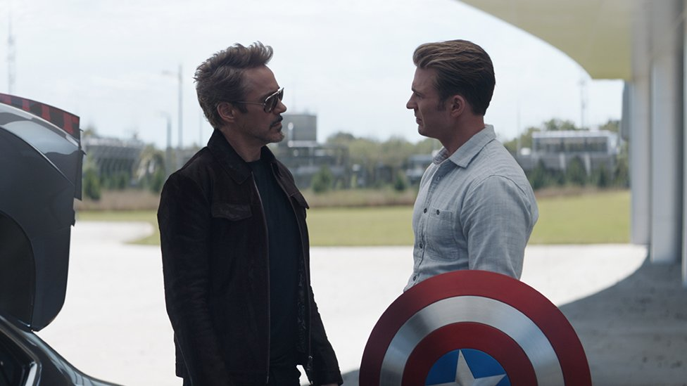 Iron Man and Captain America in Avengers: Endgame