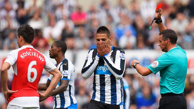 Aleksandar Mitrovic sees red in Newcastle's Premier League defeat to Arsenal
