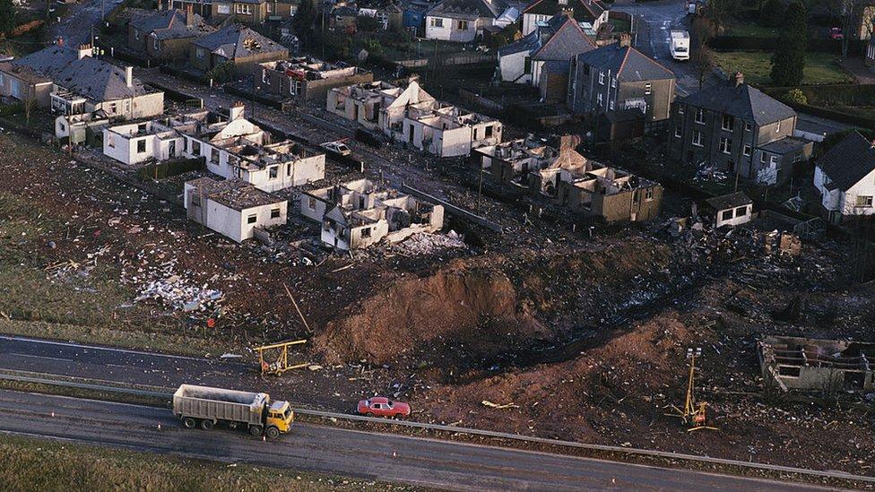 Destrozos causados por el atentado de Lockerbie.