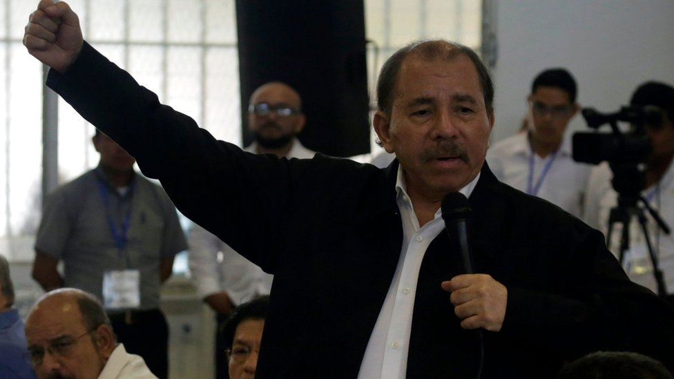 Nicaraguan President Daniel Ortega speaks during the national dialogue at the Seminary of Our Lady of Fatima, in Managua on May 16, 2018