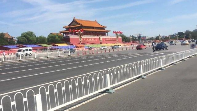 Tiananmen Square under blue skies
