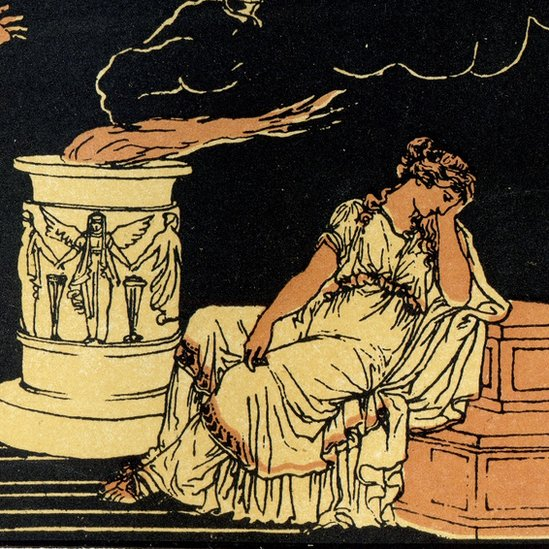 Ancient style illustration of Helen of Troy. Black, orange and yellow.