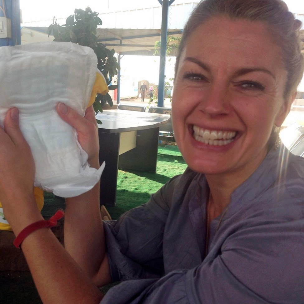 Amy with an incontinence pad