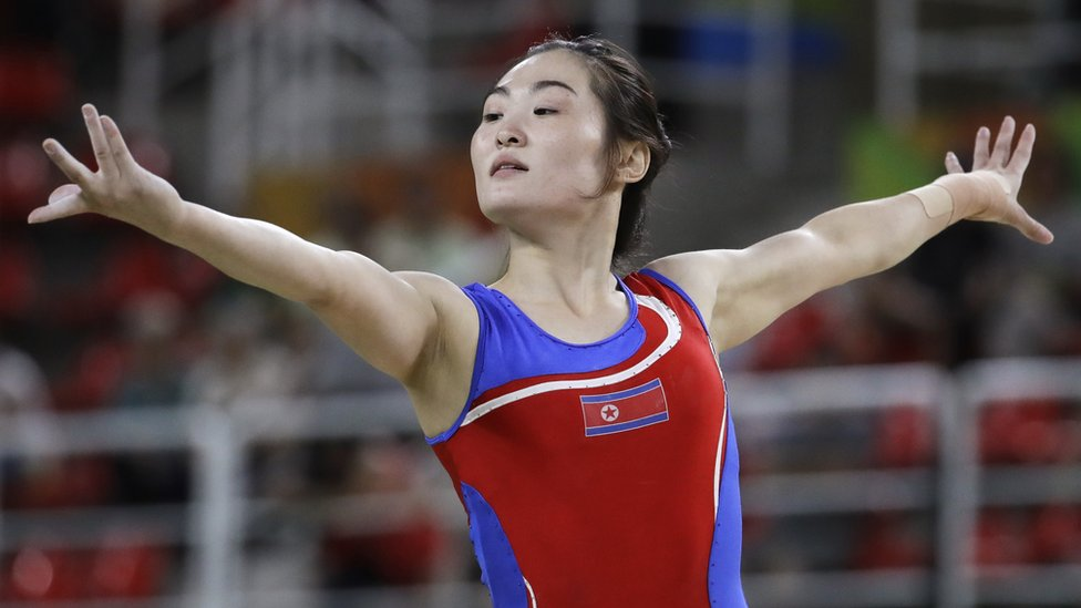 """North Korea""""s Hong Un Jong performs on the balance beam during the artistic gymnastics women""""s qualification at the 2016 Summer Olympics in Rio de Janeiro, Brazil, Sunday, Aug. 7, 2016."""