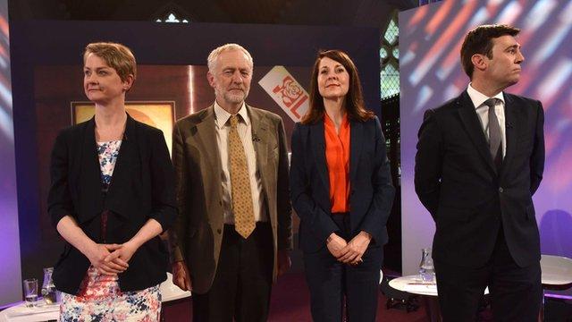 Yvette Cooper, Jeremy Corbyn, Liz Kendall and Andy Burnham