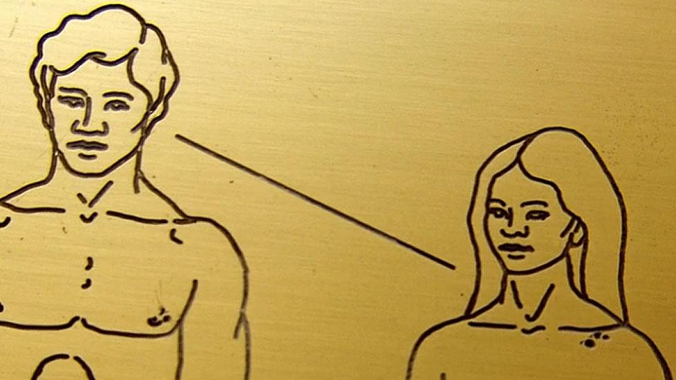 Caras de hombre y mujer de cerca