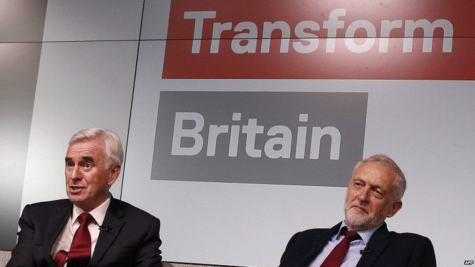 John McDonnell (left) and Jeremy Corbyn (right)
