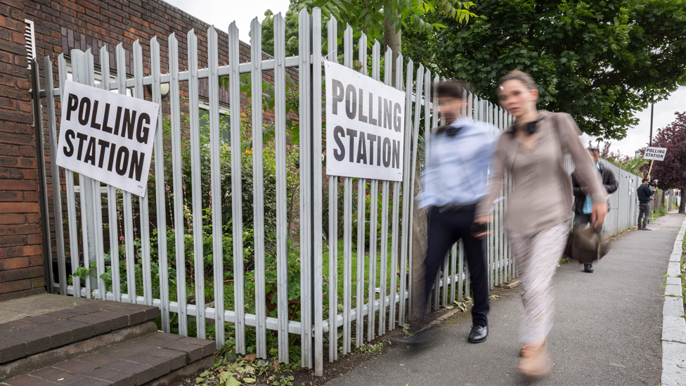 London, UK. 8th June, 2017. Polling Station leading towards Childeric Primary School. General Election Polling Day in South East London