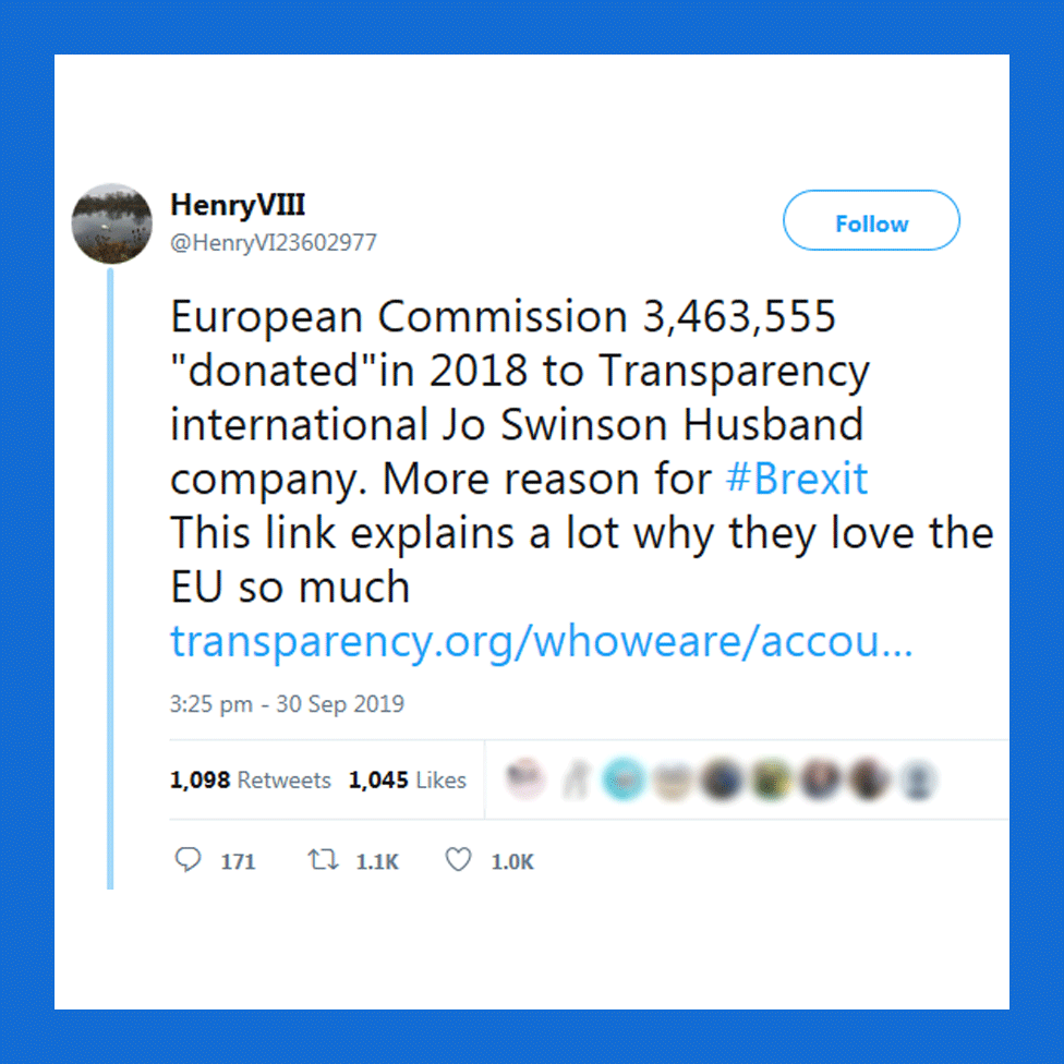 "Tweet ""European commission 3.4 million donated in 2018 to Transparency International Jo Swinson husband company. More reason for Brexit. This link explains a lot why they love the EU so much"