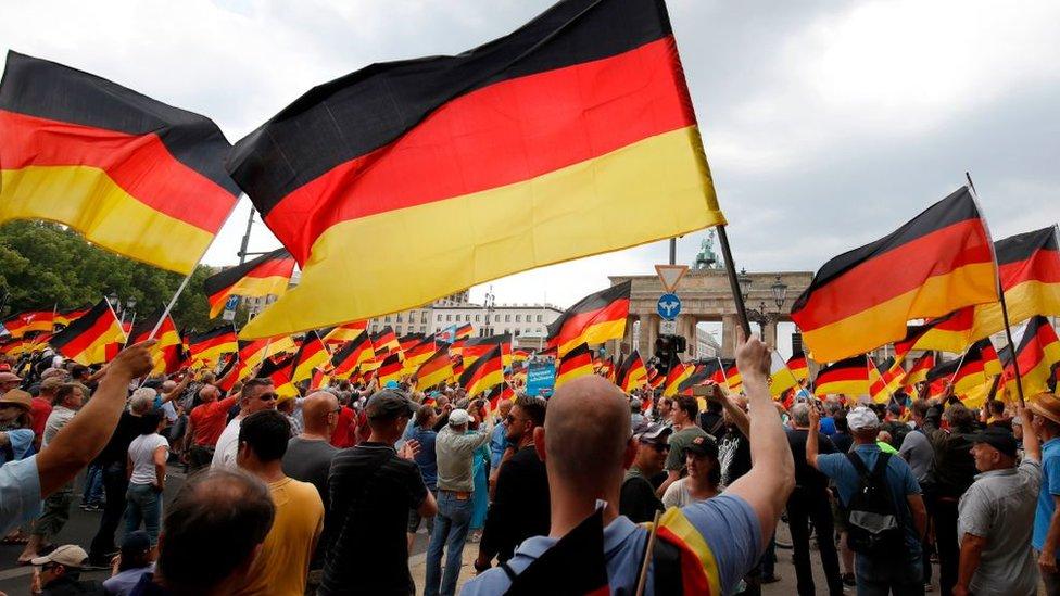 Manifestación de seguidores de AfD en Berlín.