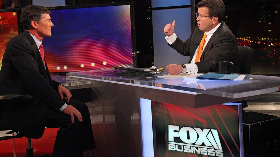 FOX Business Network's Neil Cavuto (R) interviews former Merrill Lynch Chief Executive and current head of CIT Group John Thain at FOX Studios on October 27, 2011 in New York City.