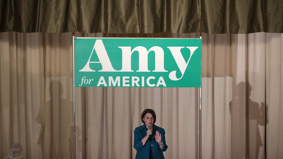 Democratic presidential candidate Sen. Amy Klobuchar (D-MN) speaks during a campaign event at Cedar Falls Womans Club