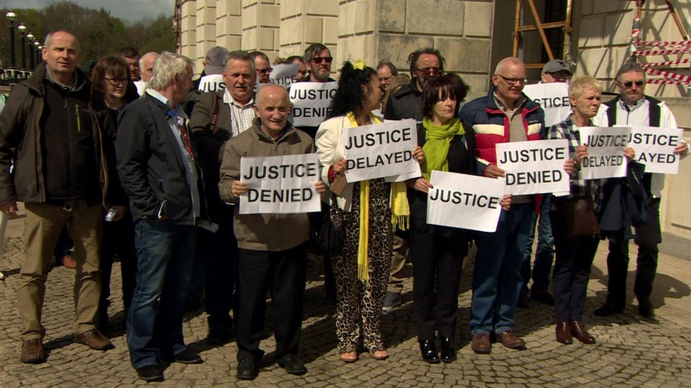 Protesters at Stormont campaigning for compensation for historical institutional abuse victims