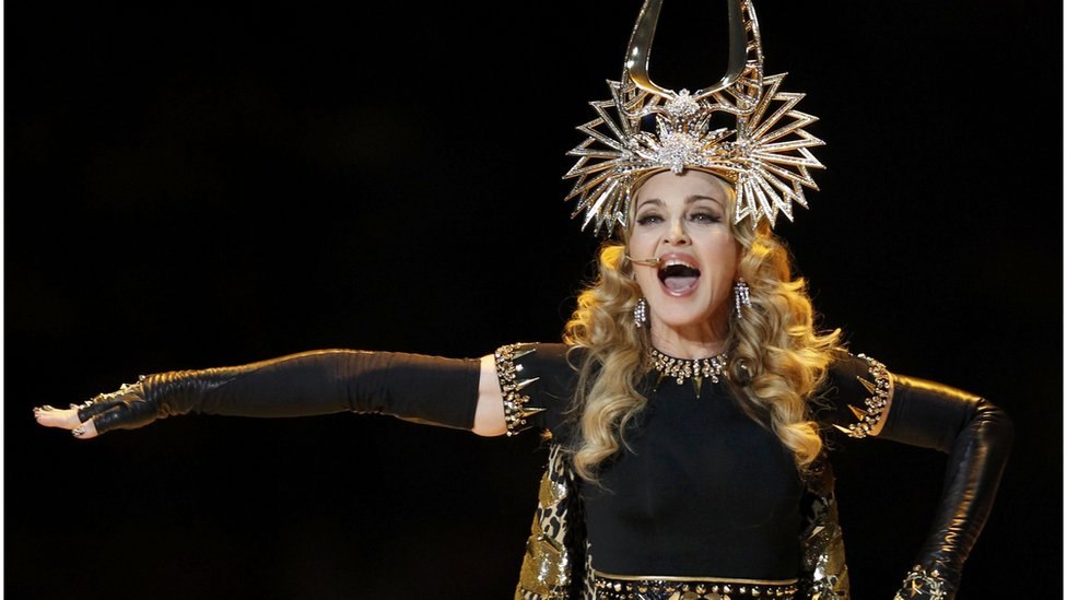 Madonna performing at Super Bowl
