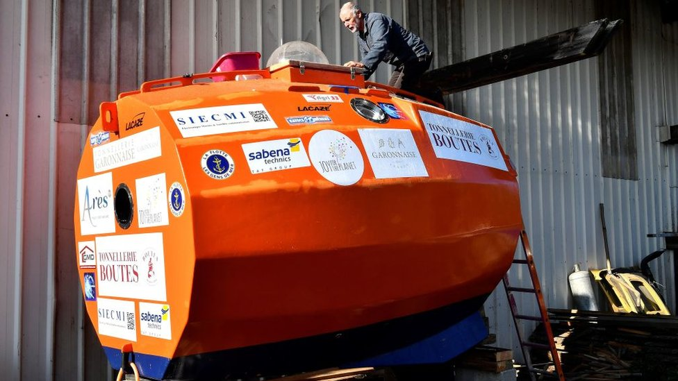 The custom-made barrel in which Frenchman Jean-Jacques Savin floated across the Atlantic