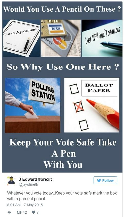 Tweet asking, 'would you use a pencil on these?' then showing photos of a credit card, a loan agreement and a a last will and testament on top. Below it asks to 'keep your vote safe take a pen with you and shows photos of a ballot box with a vote going into it and a red pencil cross on a ballot paper.