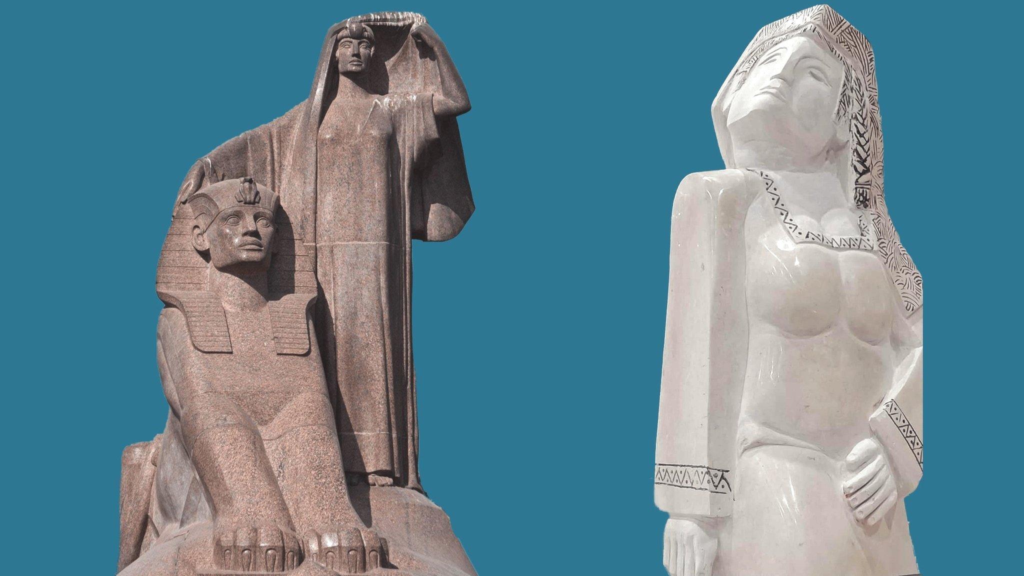 تمثال مصر تنهض (إلى اليمين) و نهضة مصر (إلى اليسار)