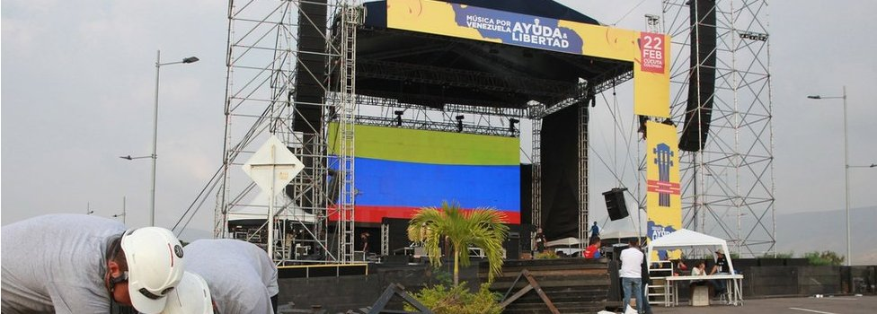 Venezuela Aid Live stage erection