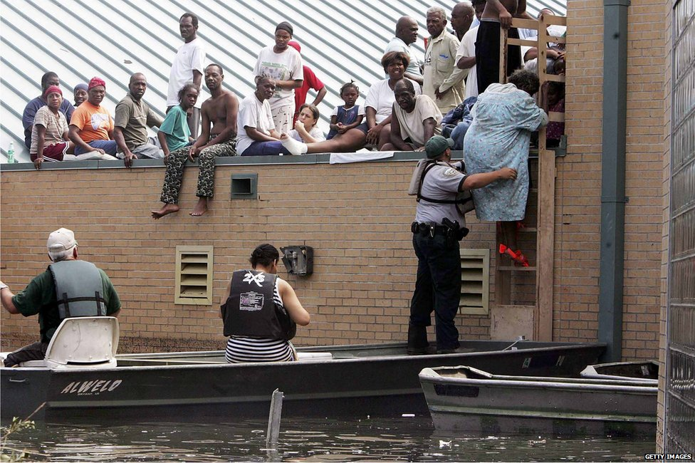 People trapped on roof