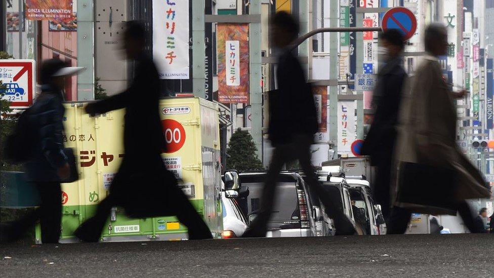 People crossing a street in Tokyo