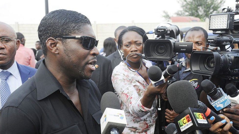 Teodorin Obiang Nguema (L), the son of Equatorial Guinea's president Teodoro Obiang Nguema and the country's vice president