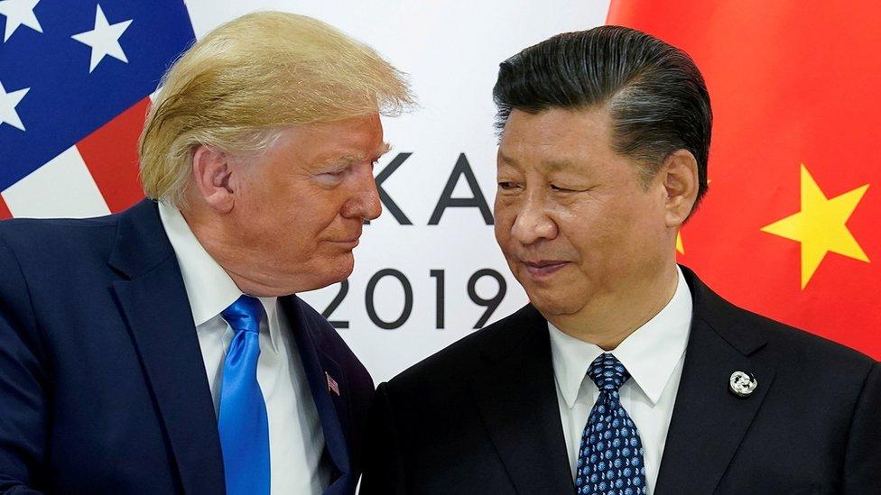 O presidente americano, Donald Trump, e o presidente chinês, Xi Jinping