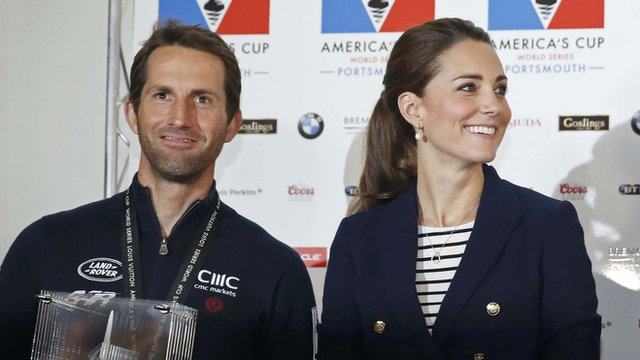 Sir Ben Ainslie with the Duchess of Cambridge after winning the British leg of the America's Cup World Series