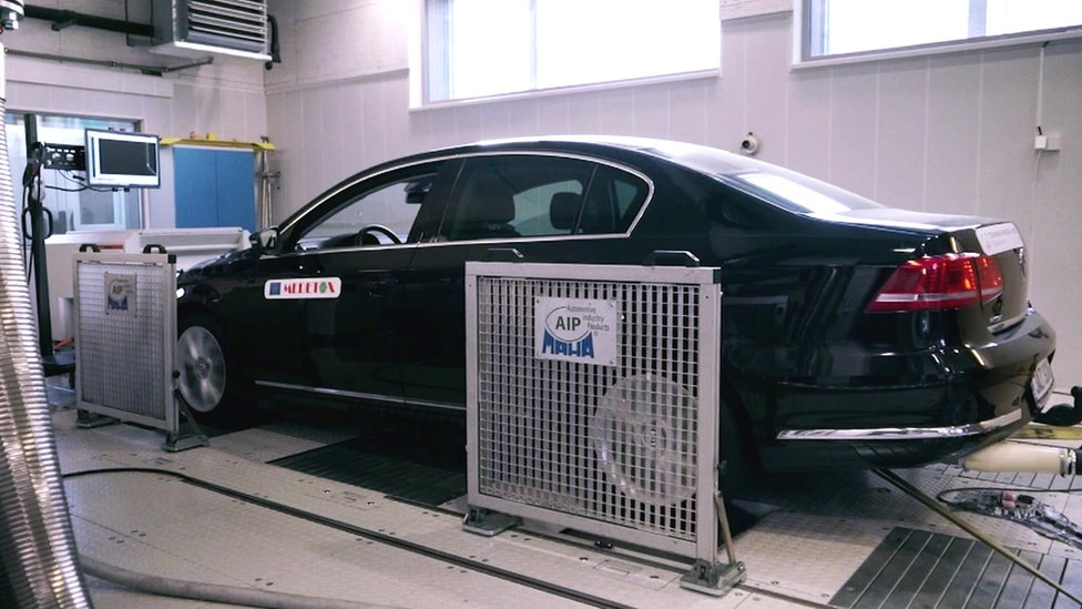 A VW car being tested