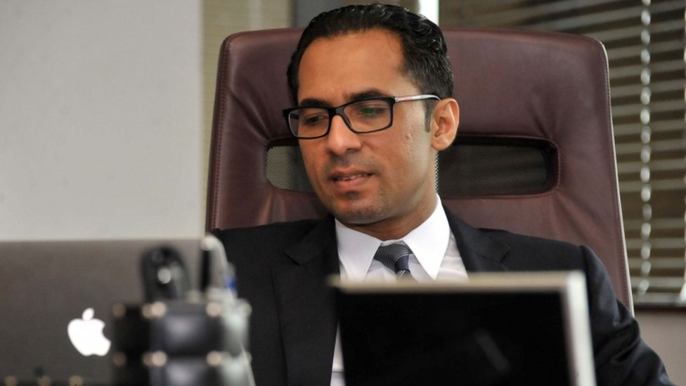A file picture taken on April 23, 2015, shows Tanzanian businessman Mohammed Dewji at his office in Dar es Salaam