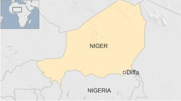 Map showing town of Diffa in Niger close to Nigerian border - March 2016
