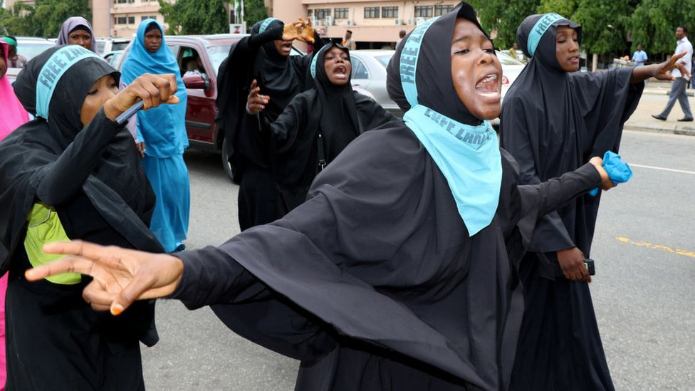 Supporters chant slogans to march and press for the release of Nigerian Shiite Muslim cleric Ibrahim Zakzaky on May 14, 2018 in Abuja.