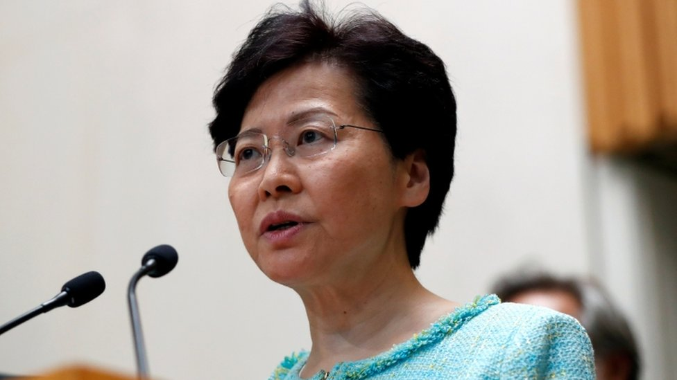 Hong Kong Chief Executive Carrie Lam speaks at a news conference on 9 August