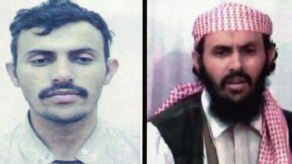 This file photo is a combo of two pictures of Qasim al-Raymi, taken from a Yemen interior ministry document
