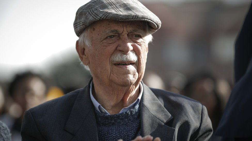 Nelson Mandela's lawyer and friend George Bizos is pictured in Johannesburg in 2018