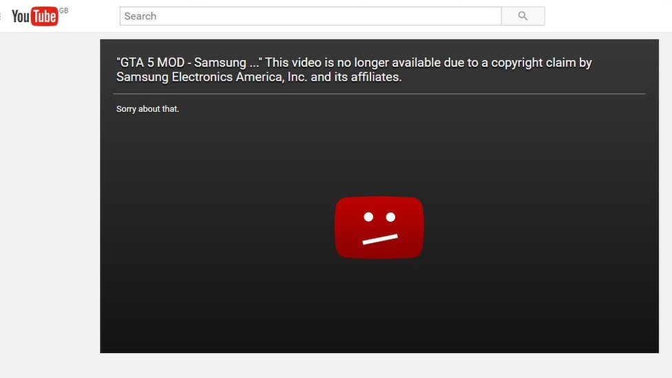 YouTube takedown notice