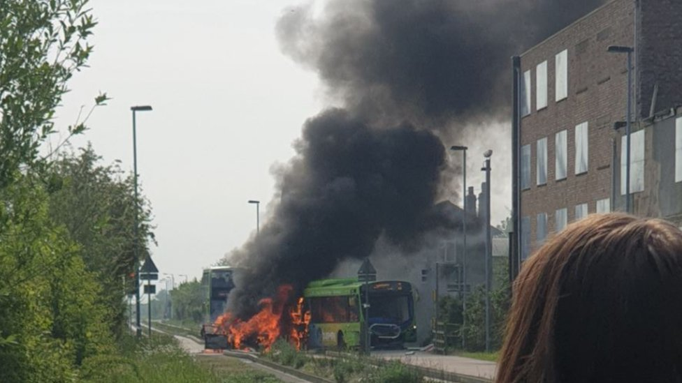 Cambridgeshire guided busway fire: Car and bus collide in Longstanton